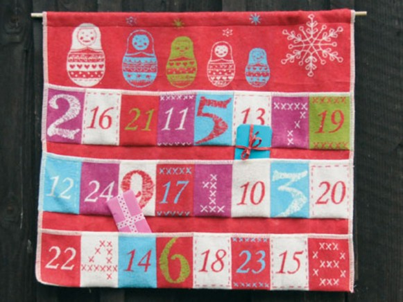 Flannel advent calendar in red by David Fussenegger