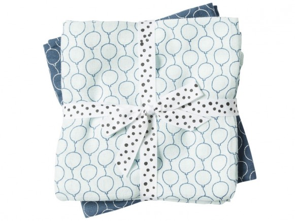 Done by Deer Burp and Swaddle Cloth 2-pack Balloons blue