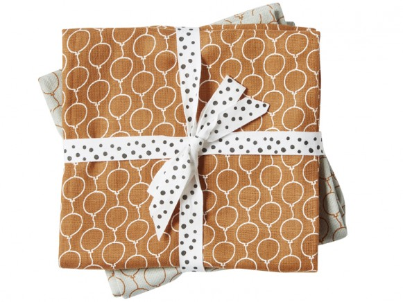 Done by Deer Burp Cloth 2-pack Balloons golden