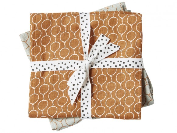 Done by Deer Burp and Swaddle Cloth 2-pack Balloons golden
