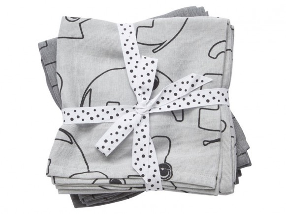 Done by Deer Contour burp and swaddle cloth 2-pack grey