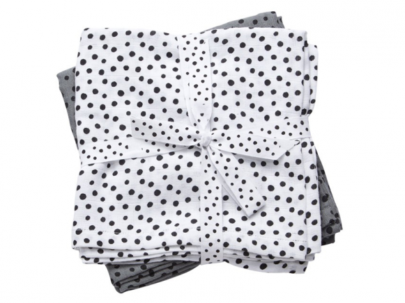 Done by Deer burp and swaddle cloth 2-pack Happy dots grey