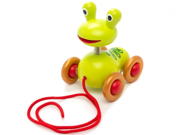 Djeco pull along toy frog Pistache