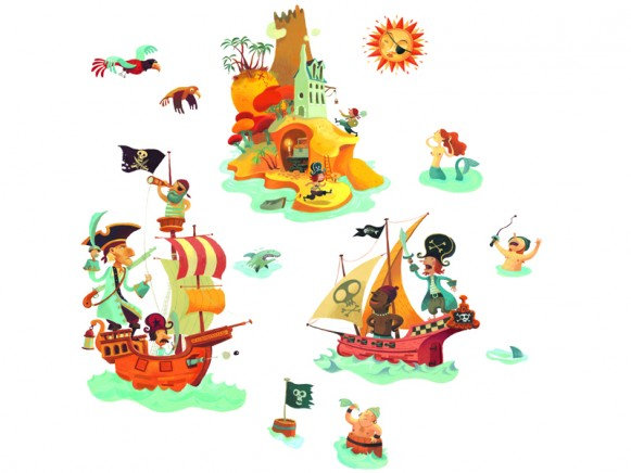 Wall sticker with treasure island by Djeco