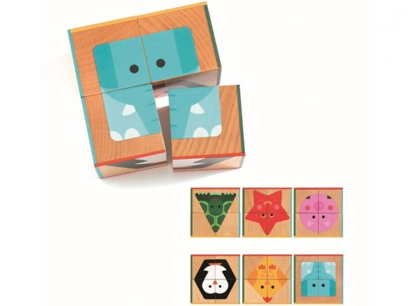 Djeco Cube Puzzle Cubabasic ANIMALS