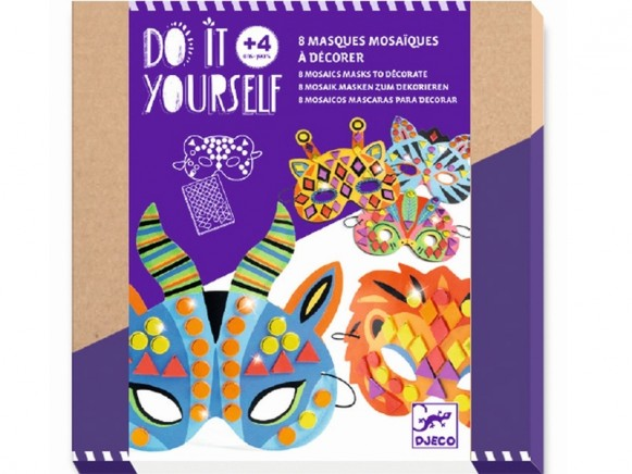 Djeco DIY Mosaic Masks JUNGLE ANIMALS