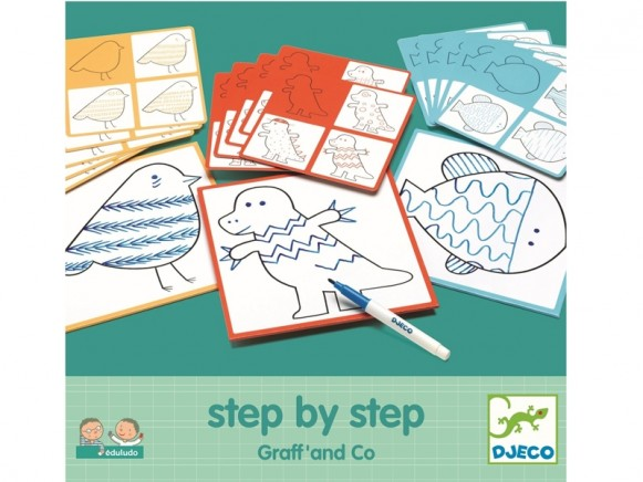 Djeco Step-By-Step Colouring Templates ANIMALS