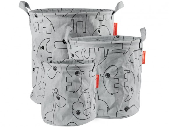 Done by Deer 3-Pack Soft Storage Baskets CONTOUR grey