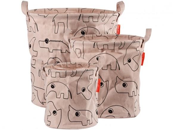 Done by Deer 3-Pack Soft Storage Baskets CONTOUR powder