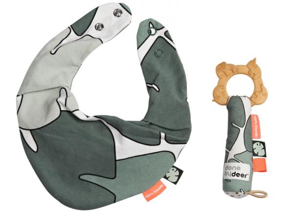 Done by Deer Bib & Teether gift set TINY TROPICS