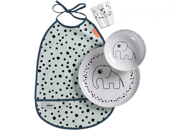 Done by Deer HAPPY DOTS tableware set blue