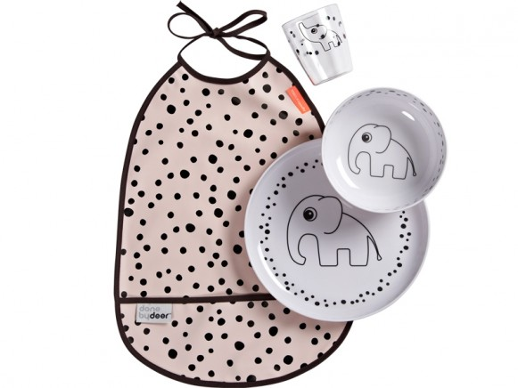 Done by Deer HAPPY DOTS tableware set powder
