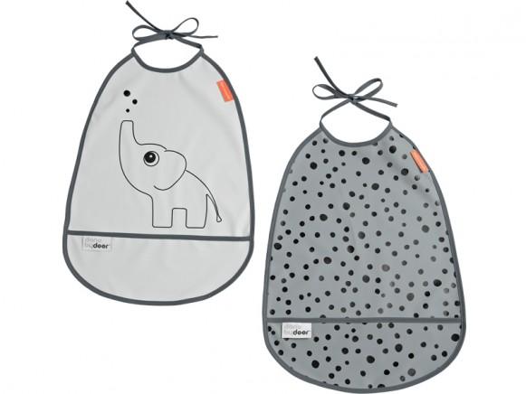 Done by Deer Bib 2-pack ELPHEE grey