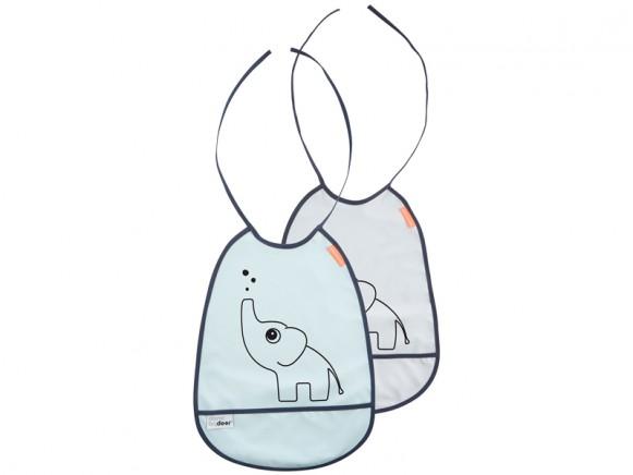 Done by Deer bib Elphee 2-pack (grey / blue)