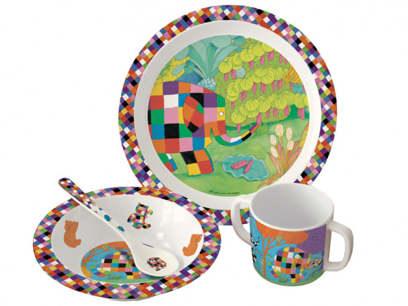 Elmer set with plate, bowl, spoon and cup by Petit Jour