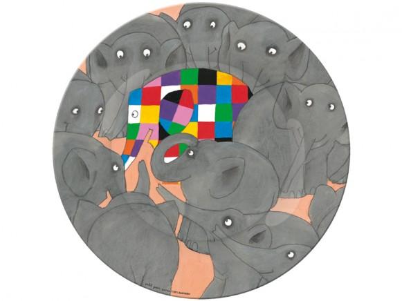 Melamine plate Elmer with grey elephants by Petit Jour