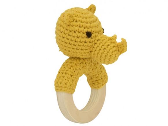 Global Affairs Crochet Ring Rattle RHINO