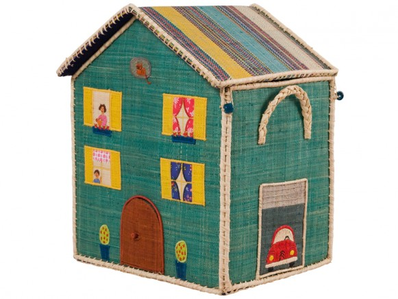 Medium RICE Denmark toy basket with striped roof