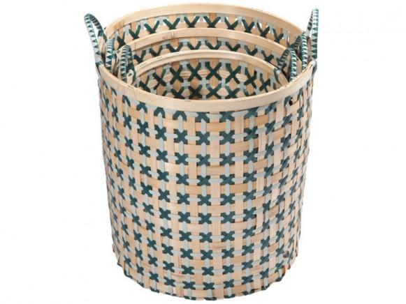 Handed By Bamboolastic basket greyish green blue green