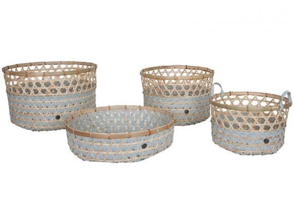 Handed By bamboo baskets Bamboolastic greyish green