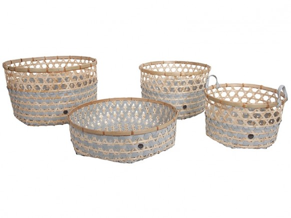 Handed By bamboo baskets Bamboolastic flint grey