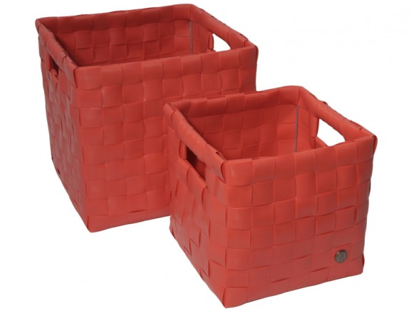 """Handed By """"Sam"""" baskets in red"""