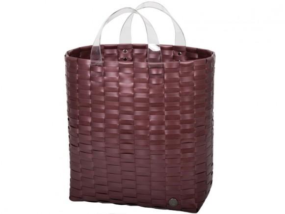 Handed By shopper Victoria metallic burgundy