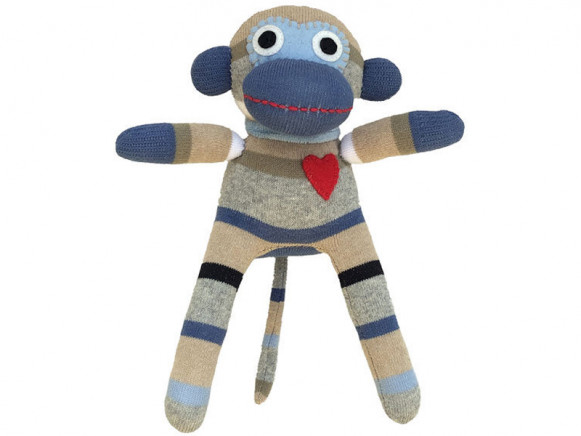 Hickups sock monkey mini light blue/grey