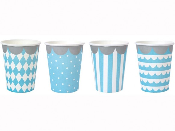 JaBaDaBaDo Party Cups light blue and white