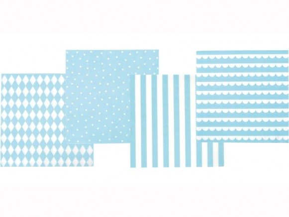 JaBaDaBaDo Party Napkins light blue and white