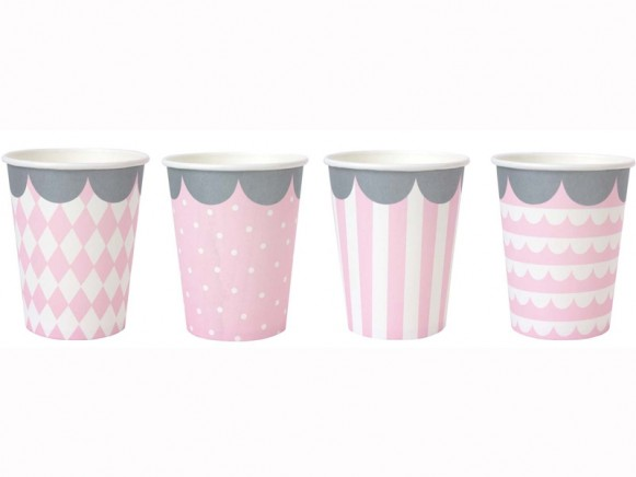 JaBaDaBaDo party cups light pink and white