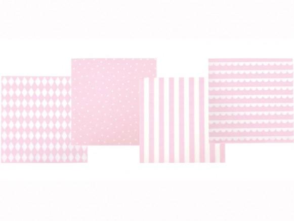 JaBaDaBaDo party napkins light pink and white