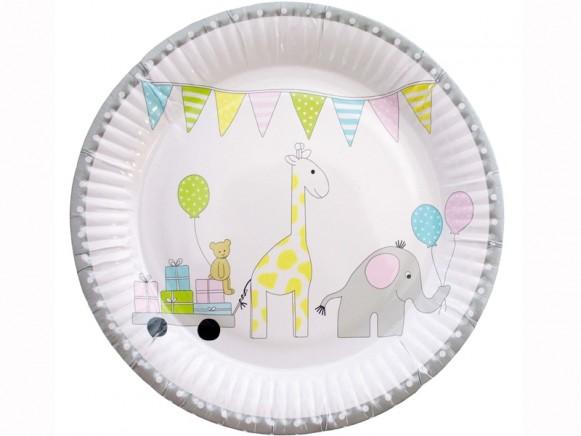 JaBaDaBaDo party plates ANIMALS pastel