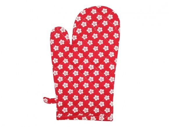 Krasilnikoff kitchen glove retro flower red