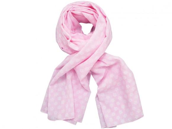 Krasilnikoff scarf pink with retro flowers