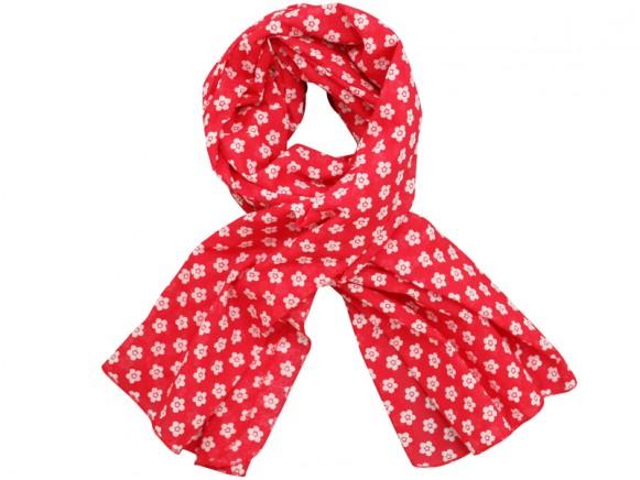 Krasilnikoff scarf red wih retro flowers