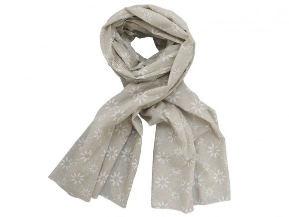 Krasilnikoff scarf taupe with diagonal flower print