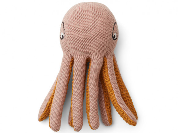LIEWOOD Rattle Toy Ole OCTOPUS old rose