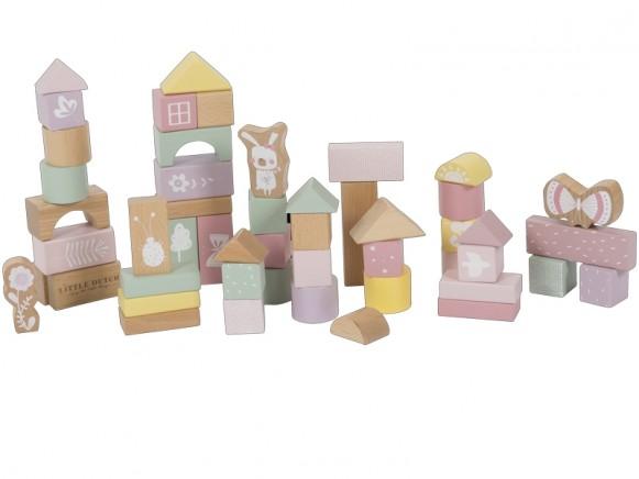 Little Dutch wooden Building Blocks PINK