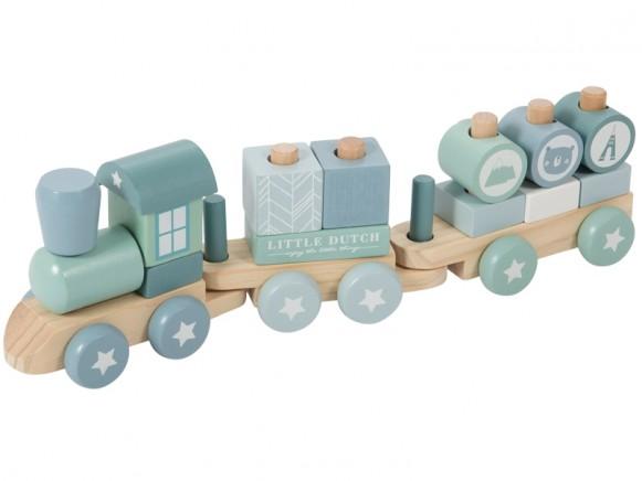 Little Dutch wooden stacking train blue
