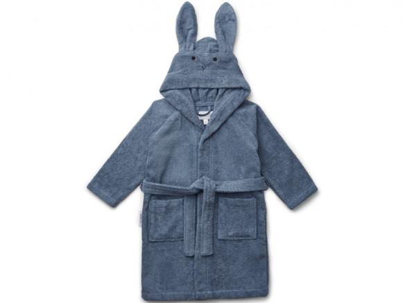 LIEWOOD Hooded Bathrobe Lily RABBIT foggy blue 5 - 6 years