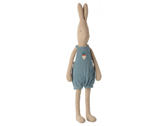 Maileg Rabbit with OVERALLS blue (Size 4)