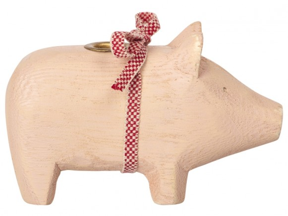 Maileg Small Wooden Pig powder