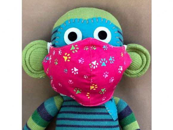 Hickups Fabric Mask KIDS Paws pink