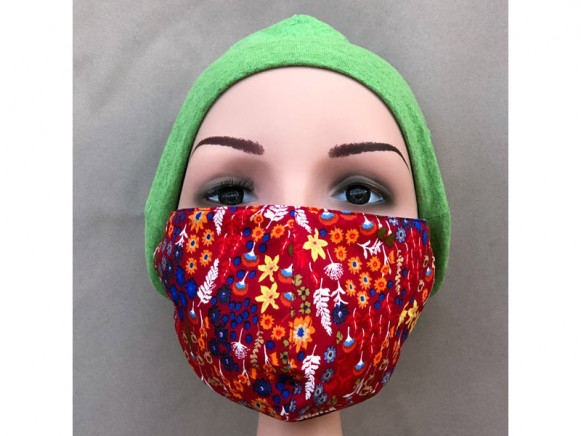 Hickups Fabric Mask ADULTS FEMALE Flowers red