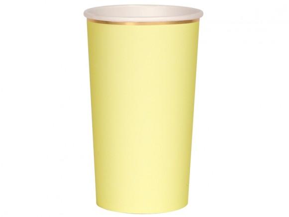 Meri Meri 8 Highball Cups PALE YELLOW