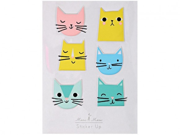 Meri Meri 9 Puffy Stickers CATS
