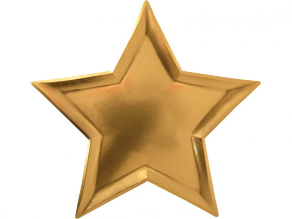 Meri Meri Large Party Plates Stars gold