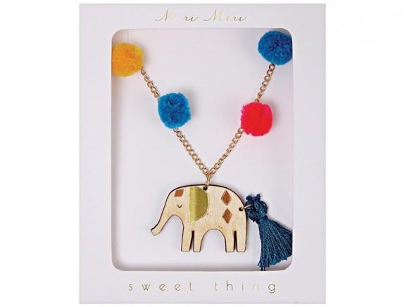 Meri Meri Pompom Necklace ELEPHANT