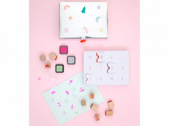 Meri Meri Advent Calendar with INK STAMPS Unicorn